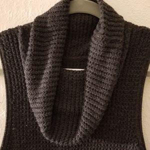 Charcoal Waffle Knit Cowl Tunic Sleeveless Sweater